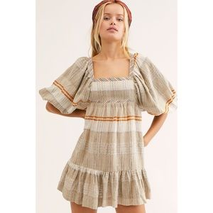 NWT Free People All Lined Up mini dress babydoll M